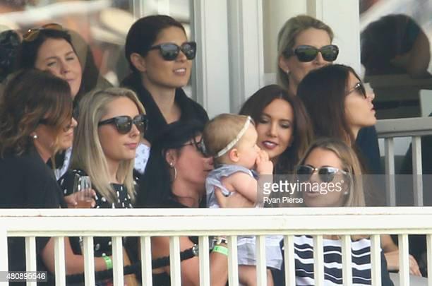Dani Willis partner of Steve Smith of Australia Ivy Warner daughter of David Warner of Australia and Candice Warner Kyly Clarke wife of Michael...