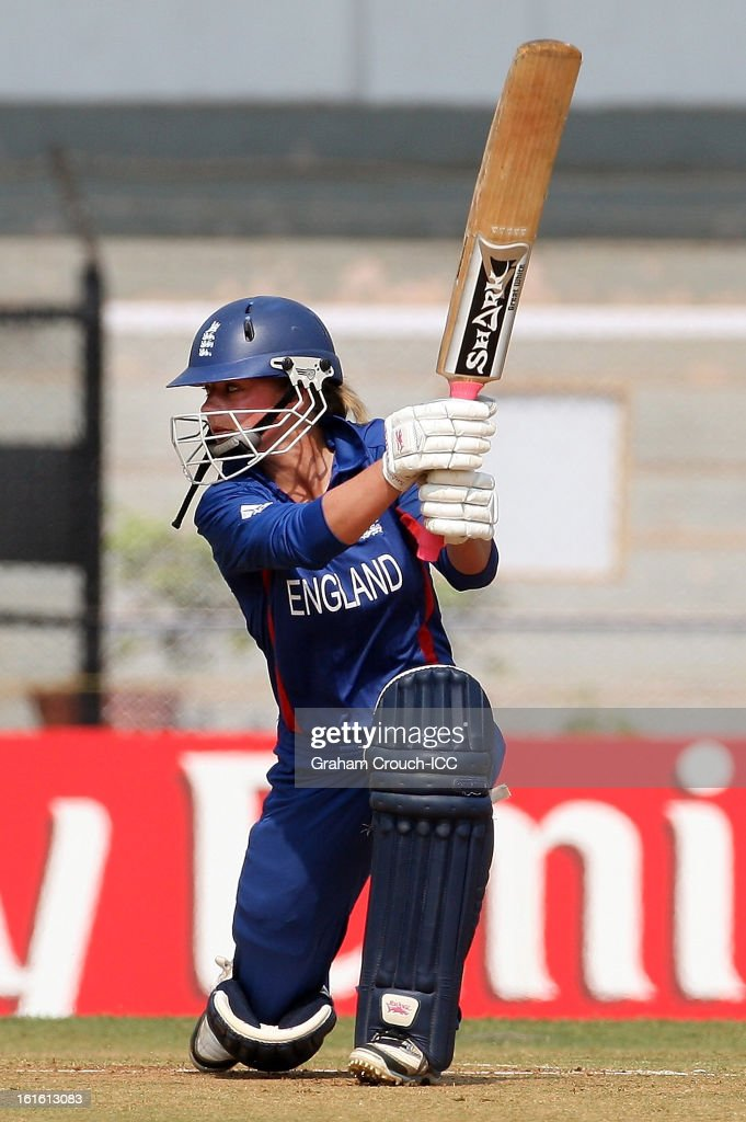 Dani Wyatt of England batting during of the Super Sixes ICC Women's World Cup India 2013 match between New Zealand and England at the Cricket Club of India ground on February 13, 2013 in Mumbai, India.