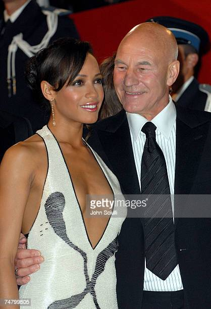 Dania Ramirez and Patrick Stewart at the Palais des Festival in Cannes France