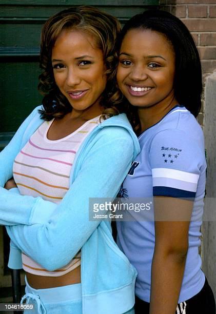 Dania Ramirez as Lauri and Kyla Pratt as Doris during Fat Albert Block Party at Paramount Studios Backlot in Los Angeles California United States