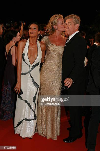 Dania Ramirez Rebecca Romijn and Ian McKellen during 20th Century Fox Premiere of XMen The Last Stand at Palais des Festivals in Cannes France