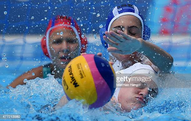 Danica Brazier of Great Britain battles for the ball with Hila Futorian of Israel during the Womens' Water Polo Group A match between Great Britain...