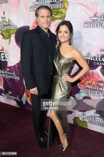Danica McKellar and Scott Sveslosky attend Hallmark Channel and Hallmark Movies and Mysteries Winter 2018 TCA Press Tour at Tournament House on...
