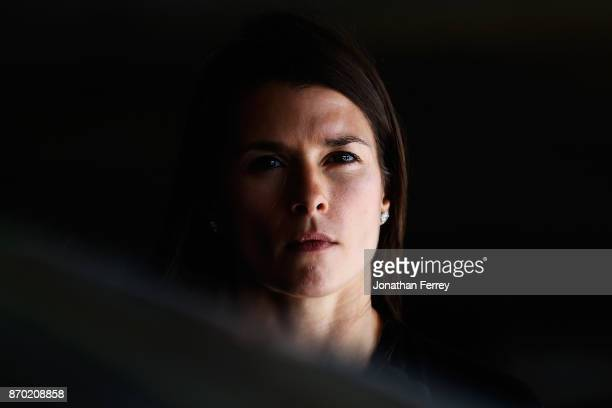 Danica Patrick driver of the Aspen Dental $10M for Veterans Ford poses in the garage area during practice for the Monster Energy NASCAR Cup Series...