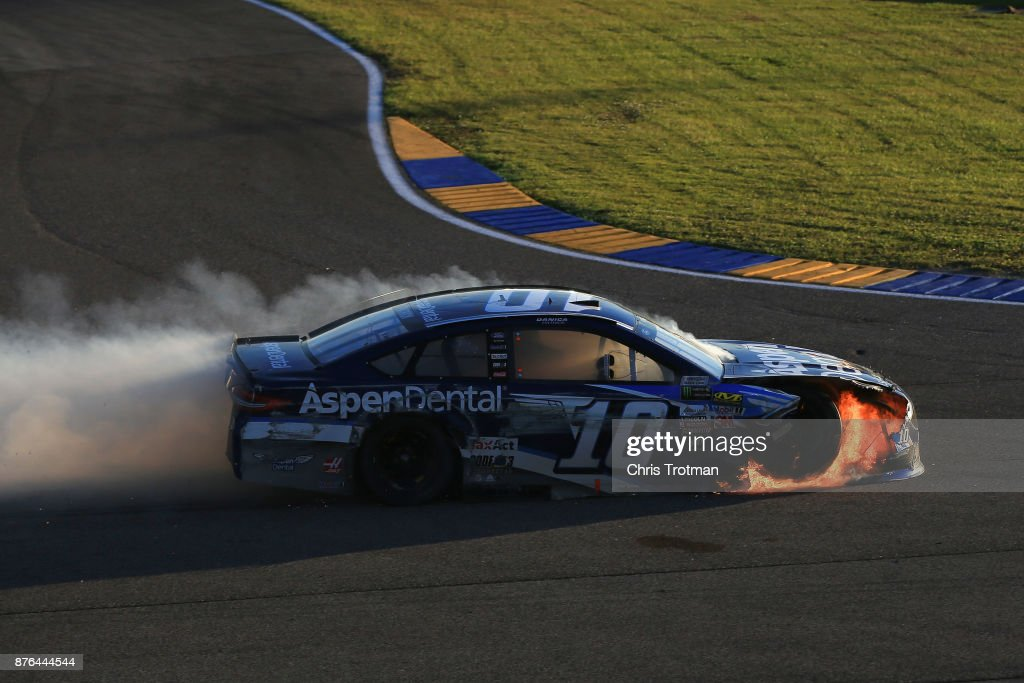 Danica Patrick, driver of the #10 Aspen Dental Ford, is involved in an on-track incident during the Monster Energy NASCAR Cup Series Championship Ford EcoBoost 400 at Homestead-Miami Speedway on November 19, 2017 in Homestead, Florida.