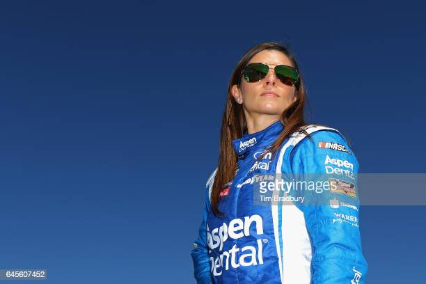 Danica Patrick driver of the Aspen Dental Ford looks on prior to the 59th Annual DAYTONA 500 at Daytona International Speedway on February 26 2017 in...