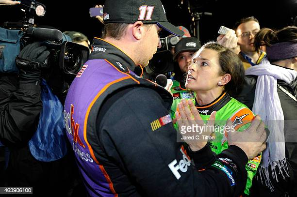 Danica Patrick, driver of the GoDaddy Chevrolet, and Denny Hamlin, driver of the FedEx Express Toyota, talk about their in-race incident on pit road...