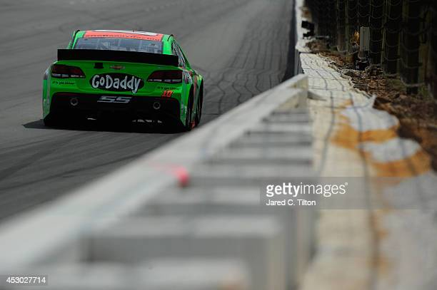 Danica Patrick driver of the GoDaddy Chevrolet drives during Practice for the NASCAR Sprint Cup Series GoBowlingcom 400 at Pocono Raceway on August 1...