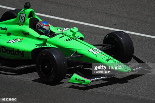 Danica Patrick driver of the GoDaddy Chevrolet exits the pit during the 102nd Indianapolis 500 at Indianapolis Motorspeedway on May 27 2018 in...