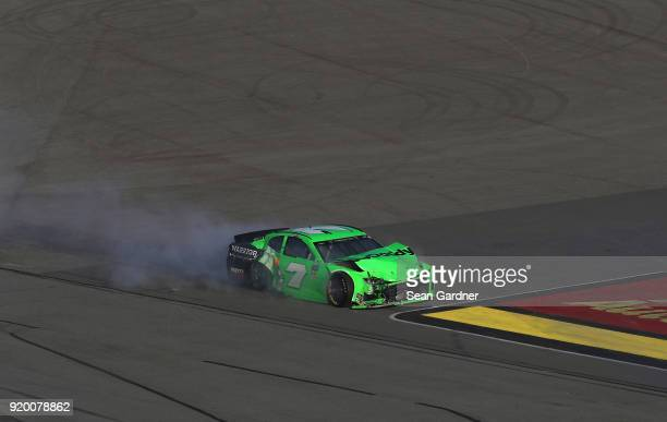 Danica Patrick driver of the GoDaddy Chevrolet has an on track incident during the Monster Energy NASCAR Cup Series 60th Annual Daytona 500 at...