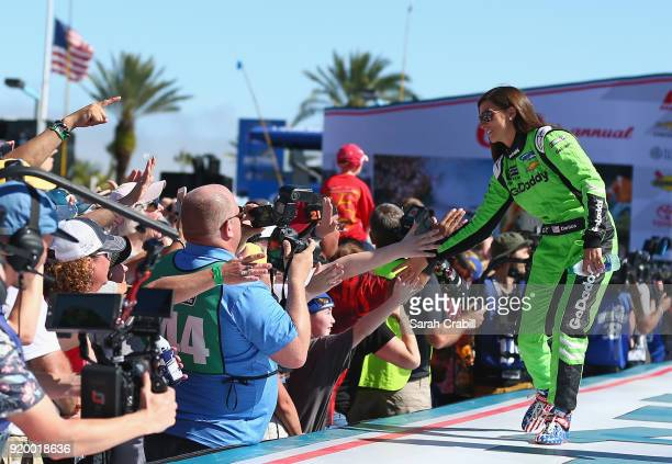 Danica Patrick driver of the GoDaddy Chevrolet is introduced during pre race festivities prior to the start of the Monster Energy NASCAR Cup Series...