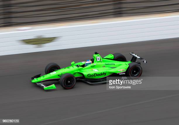 Danica Patrick driver of the GoDaddy Chevrolet on the track during her qualifying run for the 2018 Indianapolis 500 at the Indianapolis Motor...