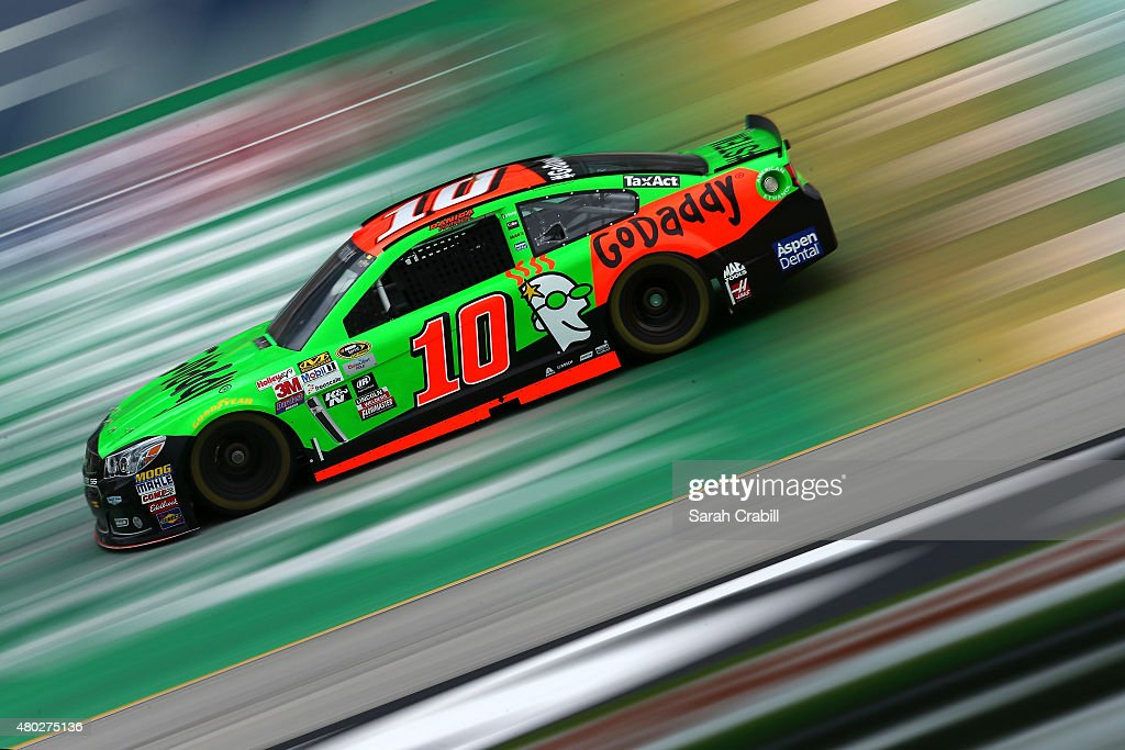 Danica Patrick, driver of the #10 GoDaddy Chevrolet, practices for the NASCAR Sprint Cup Series Quaker State 400 Presented by Advance Auto Parts at Kentucky Speedway on July 10, 2015 in Sparta, Kentucky.