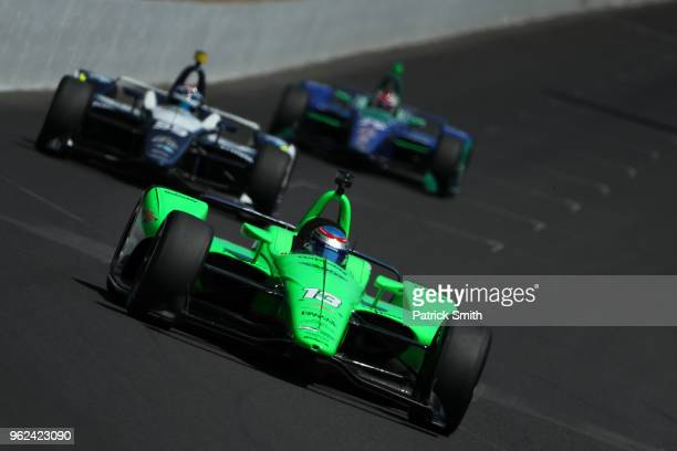 Danica Patrick driver of the GoDaddy Chevrolet practices on Carb Day for the 102nd Indianapolis 500 at Indianapolis Motorspeedway on May 25 2018 in...