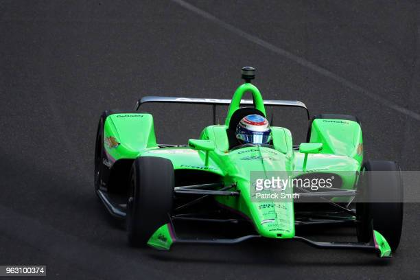 Danica Patrick driver of the GoDaddy Chevrolet races during the 102nd Indianapolis 500 at Indianapolis Motorspeedway on May 27 2018 in Indianapolis...