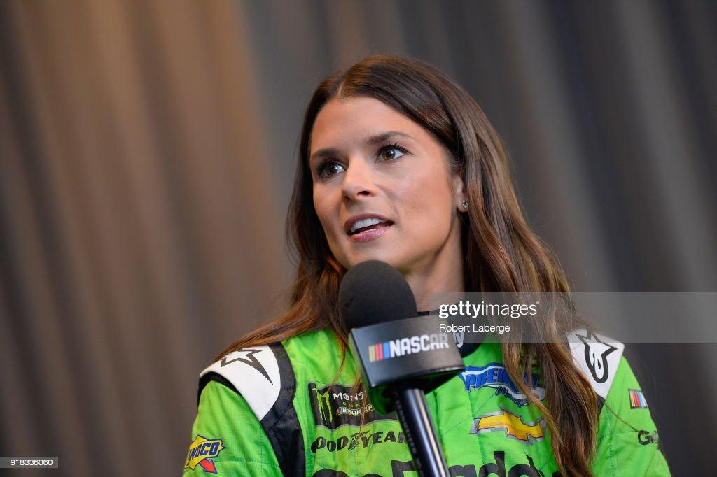 Danica Patrick, driver of the #7 GoDaddy Chevrolet, talks to the media during the Daytona 500 Media Day at Daytona International Speedway on February 14, 2018 in Daytona Beach, Florida.