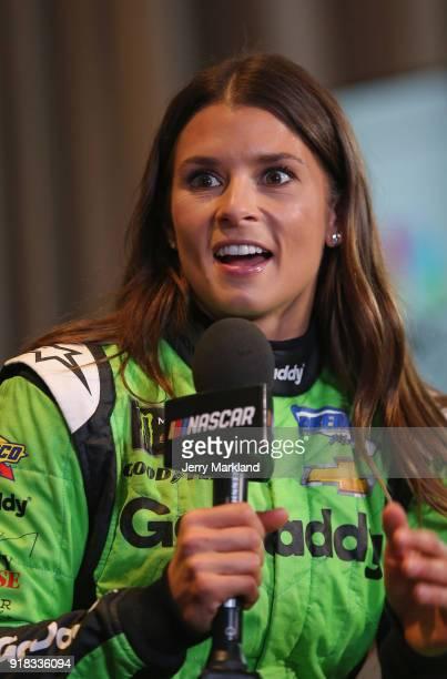 Danica Patrick driver of the GoDaddy Chevrolet talks to the media during the Daytona 500 Media Day at Daytona International Speedway on February 14...