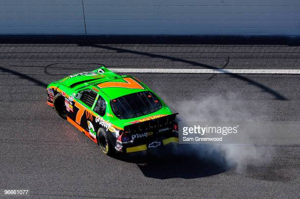 Danica Patrick, driver of the GoDaddy.com Chevrolet, crashes into the wall after a multiple car crash during the NASCAR Nationwide Series Drive4COPD...