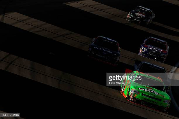 Danica Patrick driver of the GoDaddycom Chevrolet leads a group of cars during the NASCAR Nationwide Series Sam's Town 300 at Las Vegas Motor...