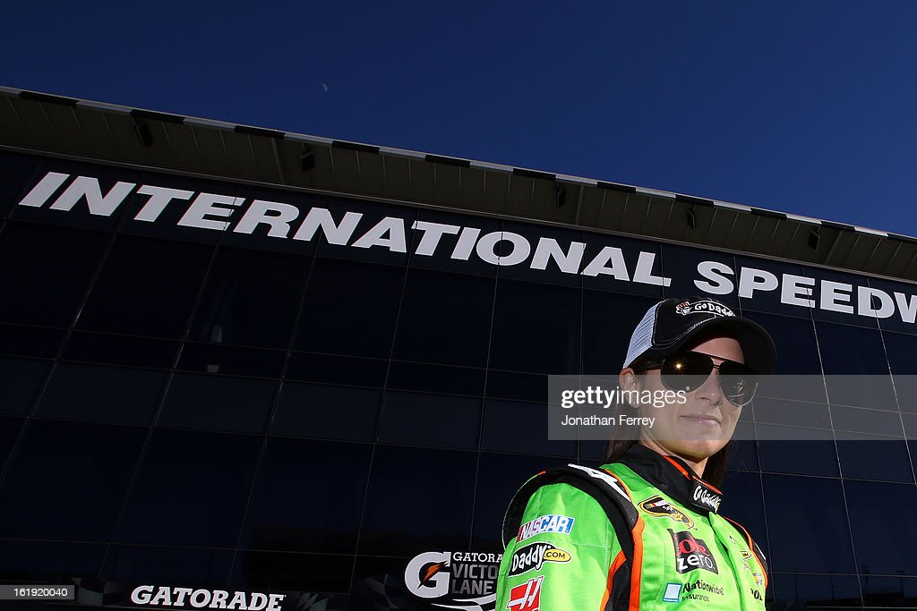 Danica Patrick, driver of the #10 GoDaddy.com Chevrolet, looks on after winning the pole award for the NASCAR Sprint Cup Series Daytona 500 at Daytona International Speedway on February 17, 2013 in Daytona Beach, Florida.