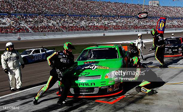 Danica Patrick driver of the GoDaddycom Chevrolet pits during the NASCAR Nationwide Series Sam's Town 300 at Las Vegas Motor Speedway on March 10...