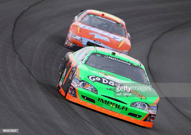 Danica Patrick driver of the GoDaddycom Chevrolet races during the NASCAR Nationwide Series Stater Bros 300 at Auto Club Speedway on February 20 2010...
