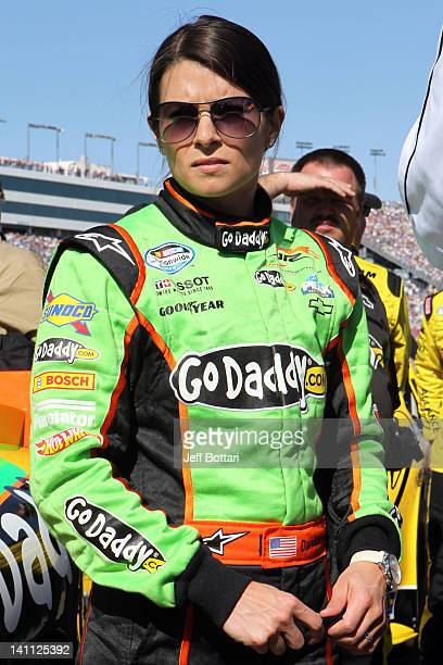 Danica Patrick driver of the GoDaddycom Chevrolet stands on the grid prior to the NASCAR Nationwide Series Sam's Town 300 at Las Vegas Motor Speedway...