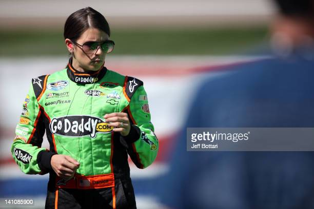 Danica Patrick driver of the GoDaddycom Chevrolet walks on pit road during qualifying for the NASCAR Nationwide Series Sam's Town 300 at Las Vegas...