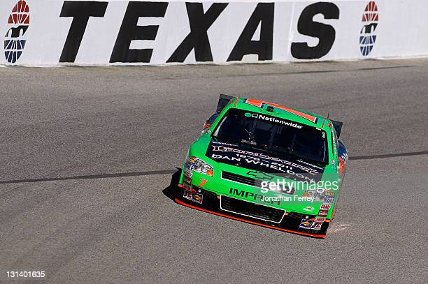 Danica Patrick driver of the GoDaddycom/DanWheldonMemorialcom Chevrolet practices for the NASCAR Nationwide Series O'Reilly Auto Parts Challenge at...