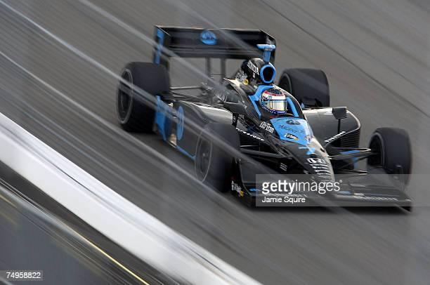 Danica Patrick driver of the Motorola Andretti Green Racing Dallara Honda drives during practice for the IRL Indycar Series Suntrust Indy Challenge...