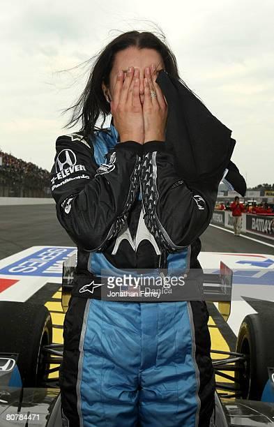 Danica Patrick driver of the Motorola Andretti Green Racing Honda Dallara shows her emotion after winning the IndyCar Series Bridgestone Indy Japan...