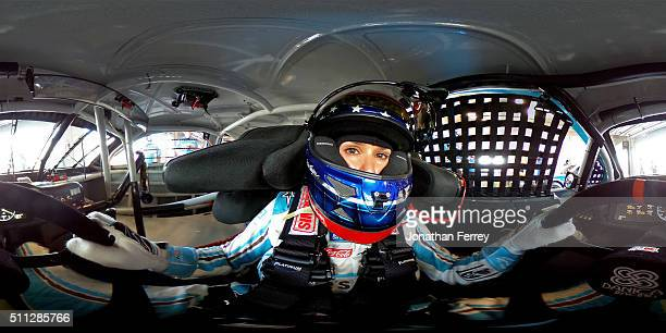 Danica Patrick driver of the Nature's Bakery Chevrolet sits in her car during practice for the NASCAR Sprint Cup Series Daytona 500 at Daytona...
