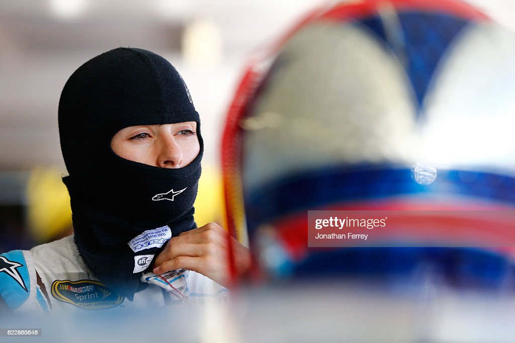 Danica Patrick, driver of the #10 Nature's Bakery Chevrolet, stands in the garage area during practice for the NASCAR Sprint Cup Series Can-Am 500 at Phoenix International Raceway on November 12, 2016 in Avondale, Arizona.