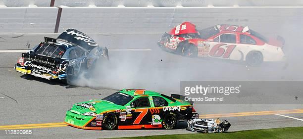 Danica Patrick, driver of the No. 7 Go Daddy Chevrolet, runs into a multi-car crash involving Colin Braun, No. 16, Ricky Stenhouse Jr., and Josh...
