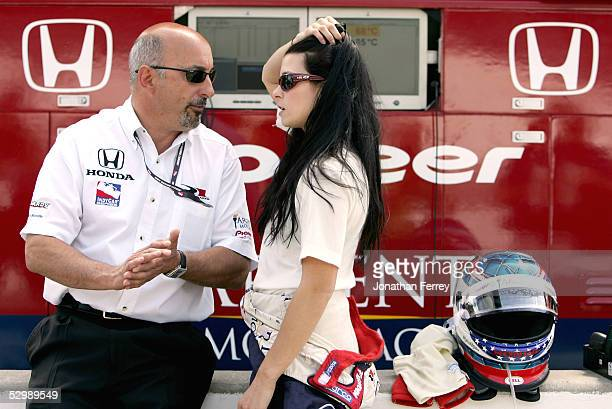 Danica Patrick driver of the Rahal Letterman Racing Argent Panoz Honda chats with team owner Bobby Rahal during Carburetion Day for the IRL IndyCar...