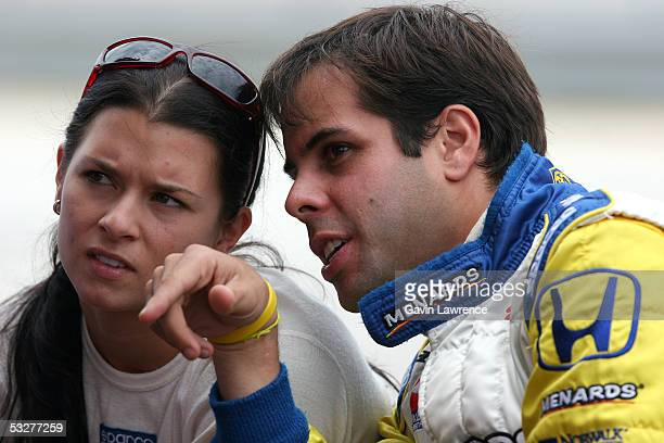 Danica Patrick driver of the Rahal Letterman Racing Argent Pioneer Panoz Honda and Vitor Meira driver of the Rahal Letterman Menards Johns Manville...