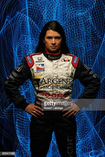 Danica Patrick driver of the Rahal Letterman Racing Honda Panoz in studio during the portrait session of media day of the IRL IndyCar Series Open...