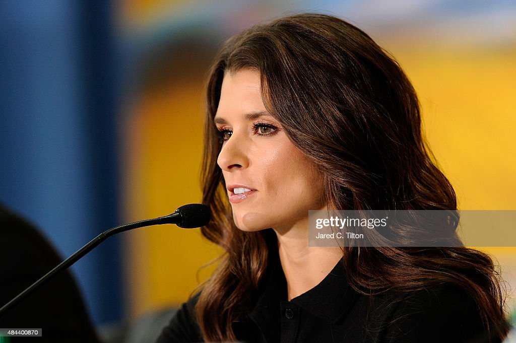Danica Patrick, driver of the #10 Stewart-Haas Racing Chevrolet, speaks with the media as she announces a multiyear deal partnership with Nature's Bakery during a press conference on August 18, 2015 in Kannapolis, North Carolina. The partnership will begin with the 2016 NASCAR Sprint Cup Series season.