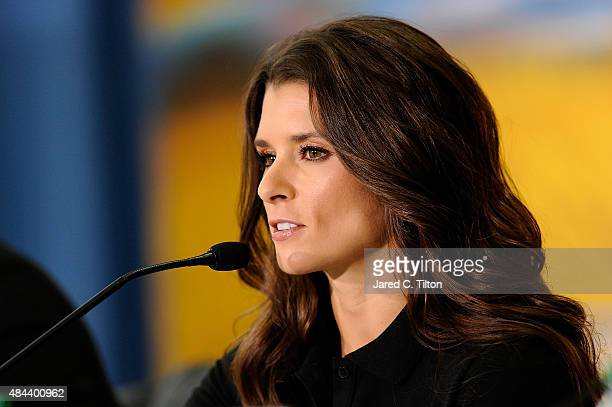 Danica Patrick driver of the StewartHaas Racing Chevrolet speaks with the media as she announces a multiyear deal partnership with Nature's Bakery...