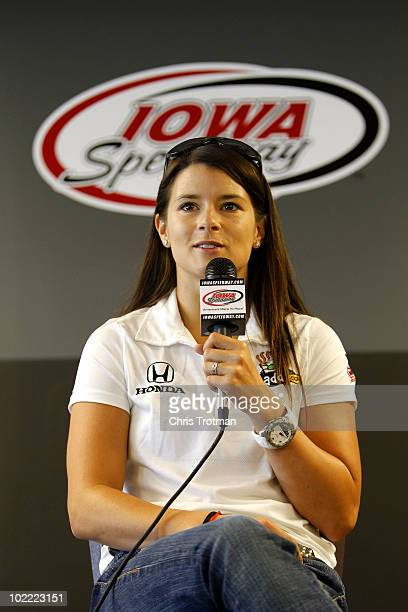 Danica Patrick driver of the Team Godaddycom Andretti Autosport Dallara Honda speaks to the media during a press conference before the IRL Indycar...