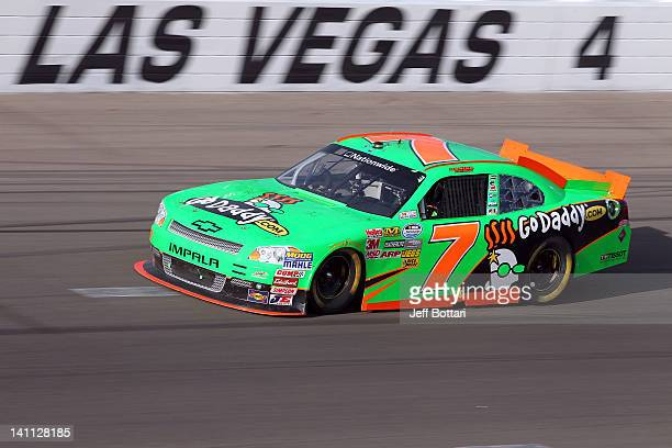 Danica Patrick drives the GoDaddycom Chevrolet during the NASCAR Nationwide Series Sam's Town 300 at Las Vegas Motor Speedway on March 10 2012 in Las...