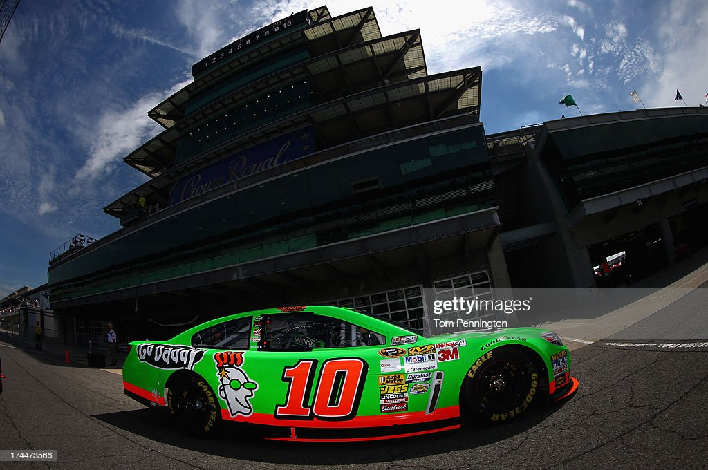 Danica Patrick drives the #10 GoDaddy.com Chevrolet through the garage area during practice for the NASCAR Sprint Cup Series Samuel Deeds 400 At The Brickyard at Indianapolis Motor Speedway on July 26, 2013 in Indianapolis, Indiana.