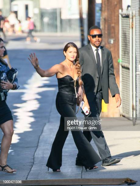 Danica Patrick is seen arriving at 'Jimmy Kimmel Live' on July 16 2018 in Los Angeles California