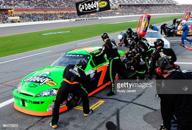 Danica Patrick makes a pit stop during the ARCA Racing Series Lucas Oil Slick Mist 200 at Daytona International Speedway on February 6 2010 in...