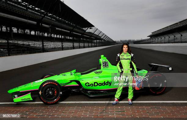 INDIANAPOLIS IN MARCH 26 Danica Patrick poses for a portrait on the track at the Indianapolis Motor Speedway on March 26 2018 in Speedway Indiana