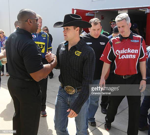 Danica Patrick's boyfriend Ricky Stenhouse Jr leaves the driver's meeting before the first race of the Budweiser Duel at Daytona International...