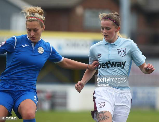 LR Danica Revell of CampK Basildon Ladies and West Ham United Ladies Molly Peters during FA Women's Premier League Southern Division match between C...