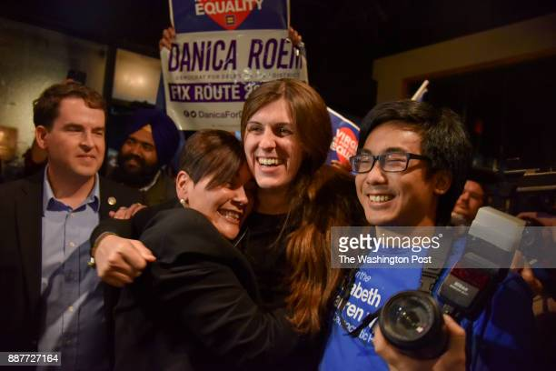 Danica Roem C who ran for house of delegates against GOP incumbent Robert Marshall is greeted by supporters as she prepares to give her victory...