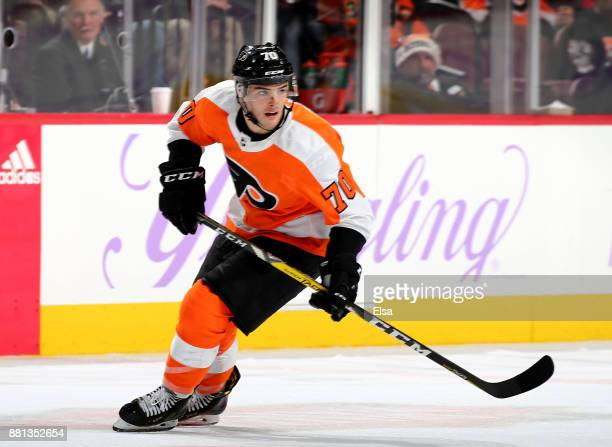 Danick Martel of the Philadelphia Flyers skates in the third period against the San Jose Sharks on November 28 2017 at Wells Fargo Center in...