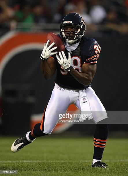 Danieal Manning of the Chicago Bears fields a kick against the San Francisco 49ers on August 21 2008 at Soldier Field in Chicago Illinois The 49ers...